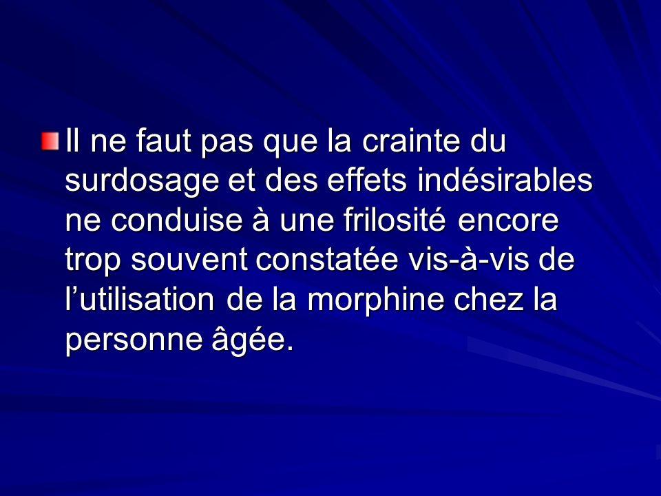 Il ne faut pas que la crainte du surdosage et des effets indésirables ne conduise à une frilosité encore trop souvent constatée vis-à-vis de l'utilisation de la morphine chez la personne âgée.