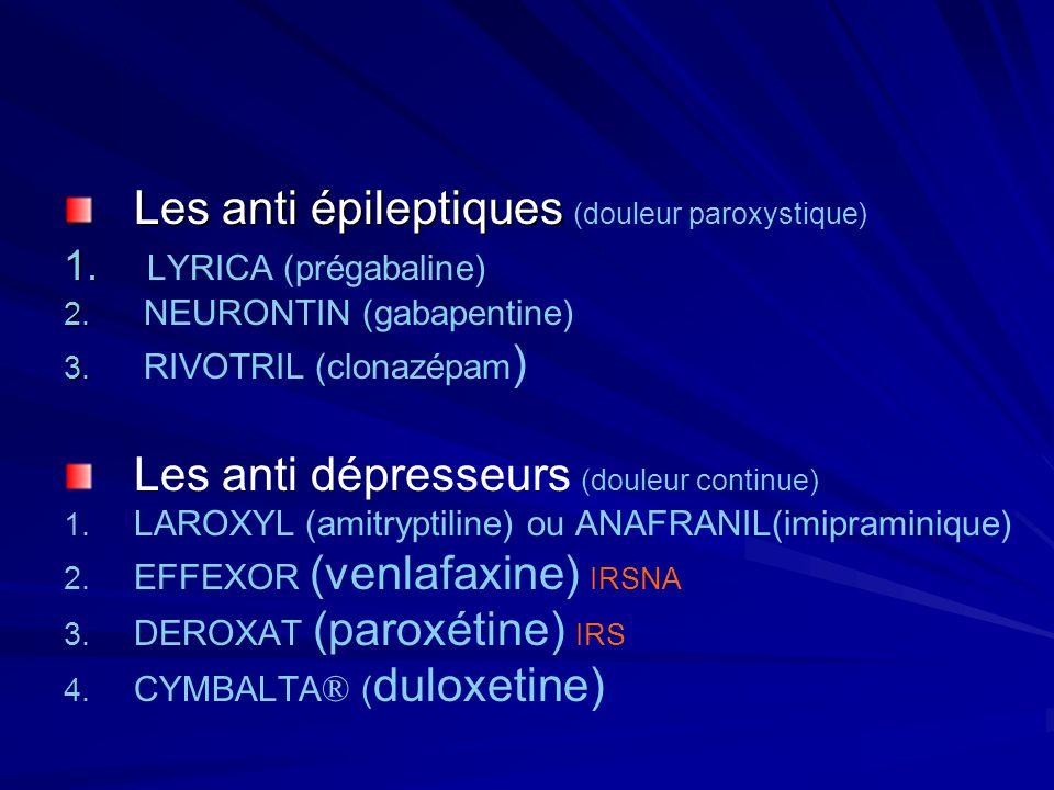 Les anti épileptiques (douleur paroxystique) LYRICA (prégabaline)