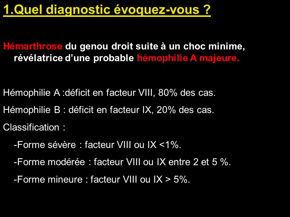 1.Quel diagnostic évoquez-vous