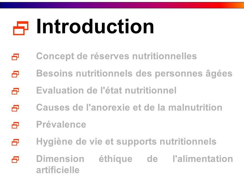 Introduction Concept de réserves nutritionnelles