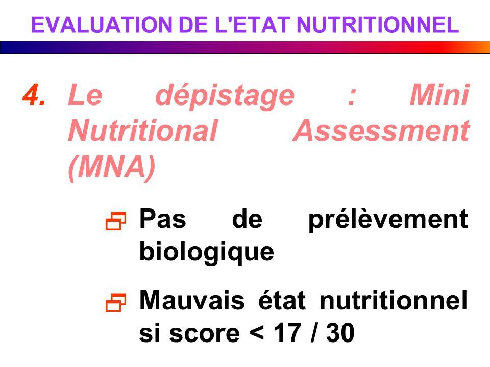 EVALUATION DE L ETAT NUTRITIONNEL
