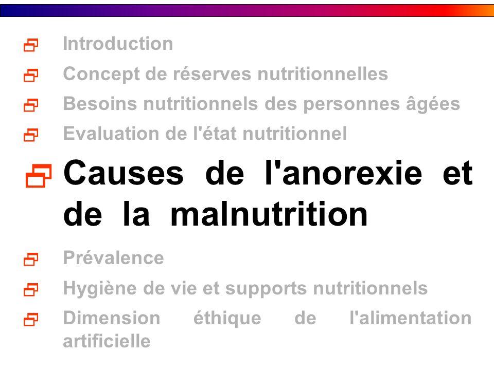 Causes de l anorexie et de la malnutrition