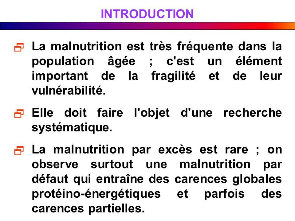 INTRODUCTION La malnutrition est très fréquente dans la population âgée ; c est un élément important de la fragilité et de leur vulnérabilité.