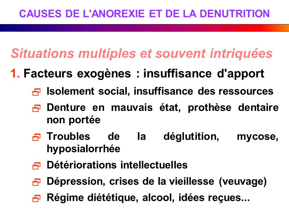 CAUSES DE L ANOREXIE ET DE LA DENUTRITION