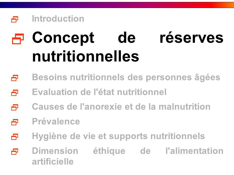 Concept de réserves nutritionnelles