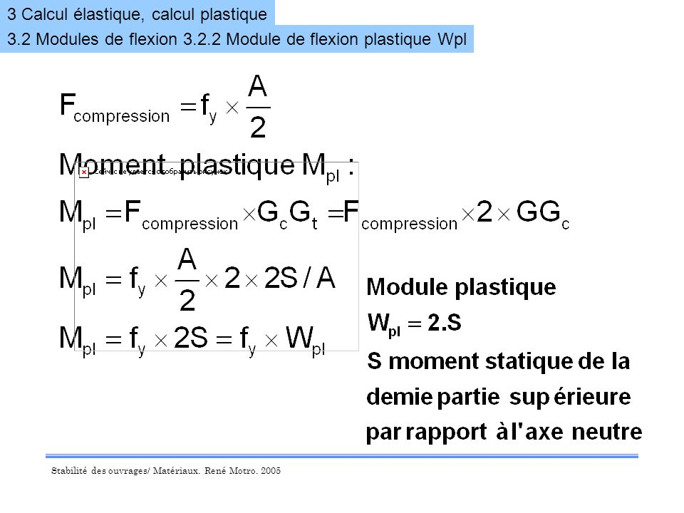 3 Calcul élastique, calcul plastique