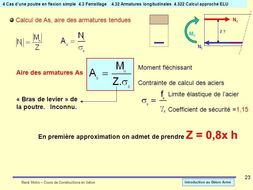 Calcul de As, aire des armatures tendues