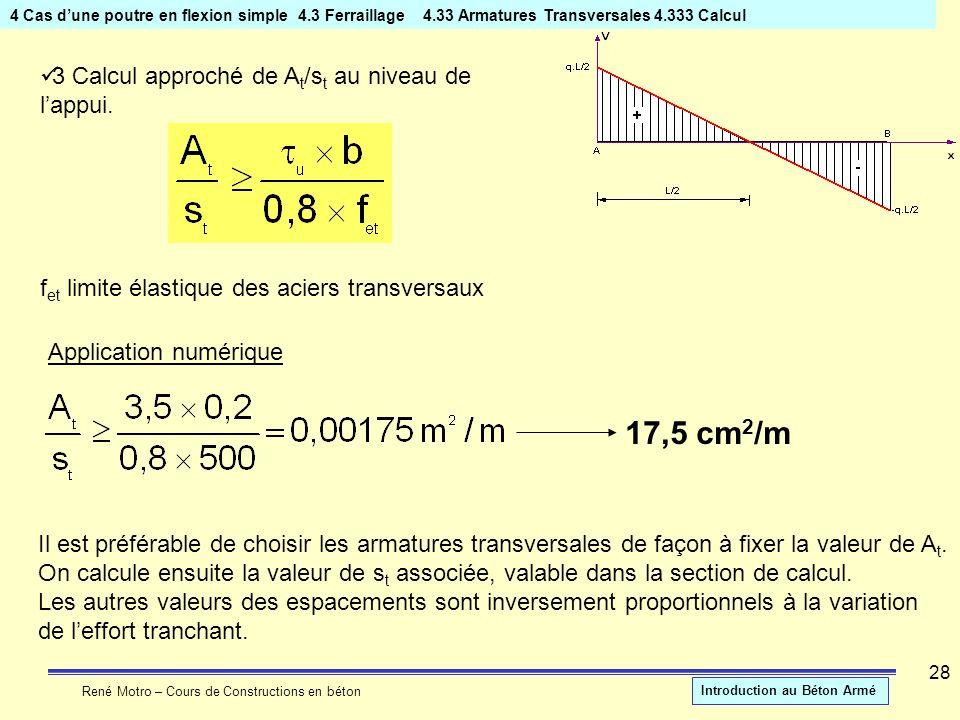 17,5 cm2/m 3 Calcul approché de At/st au niveau de l'appui.