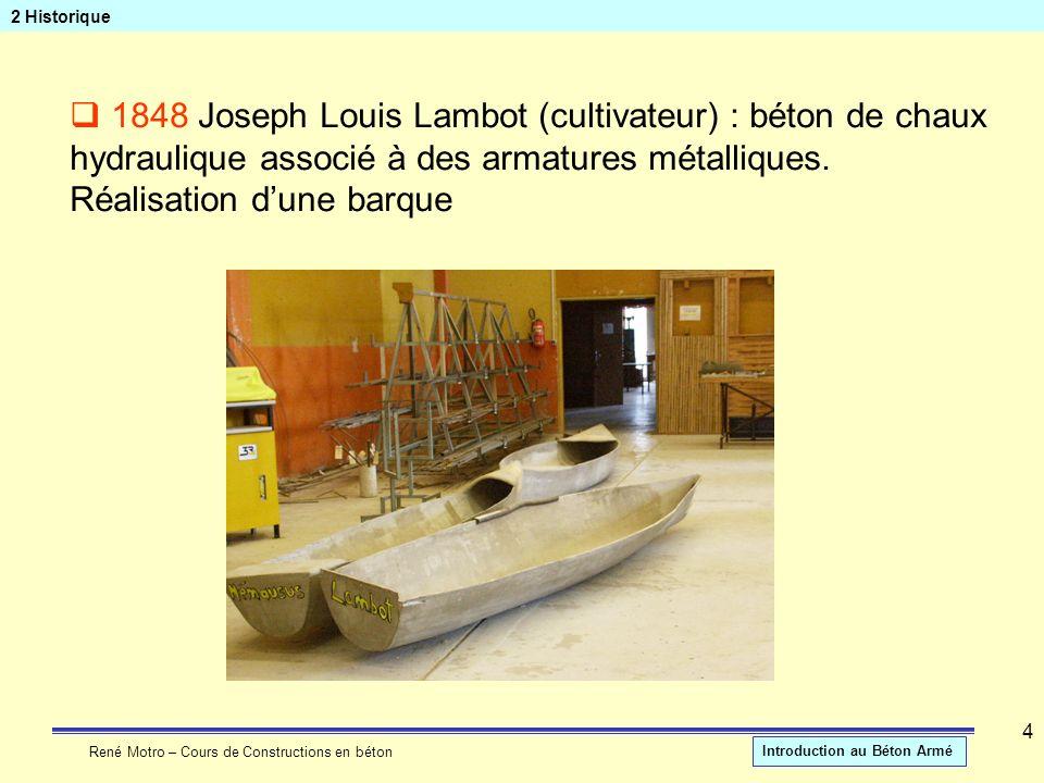 2 Historique 1848 Joseph Louis Lambot (cultivateur) : béton de chaux hydraulique associé à des armatures métalliques.