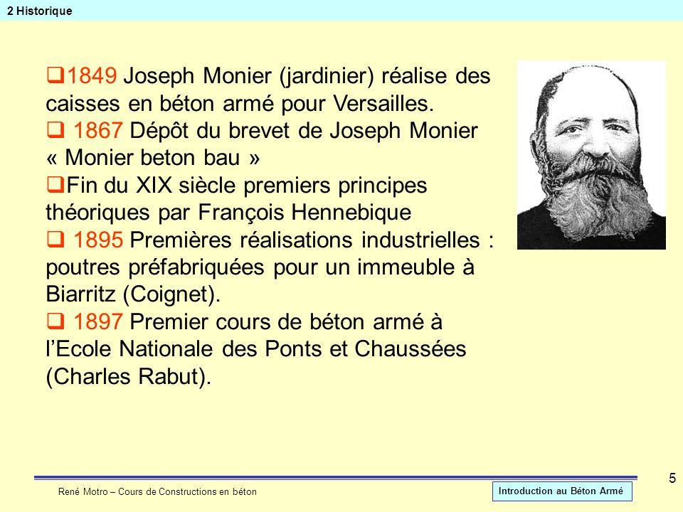 1867 Dépôt du brevet de Joseph Monier « Monier beton bau »