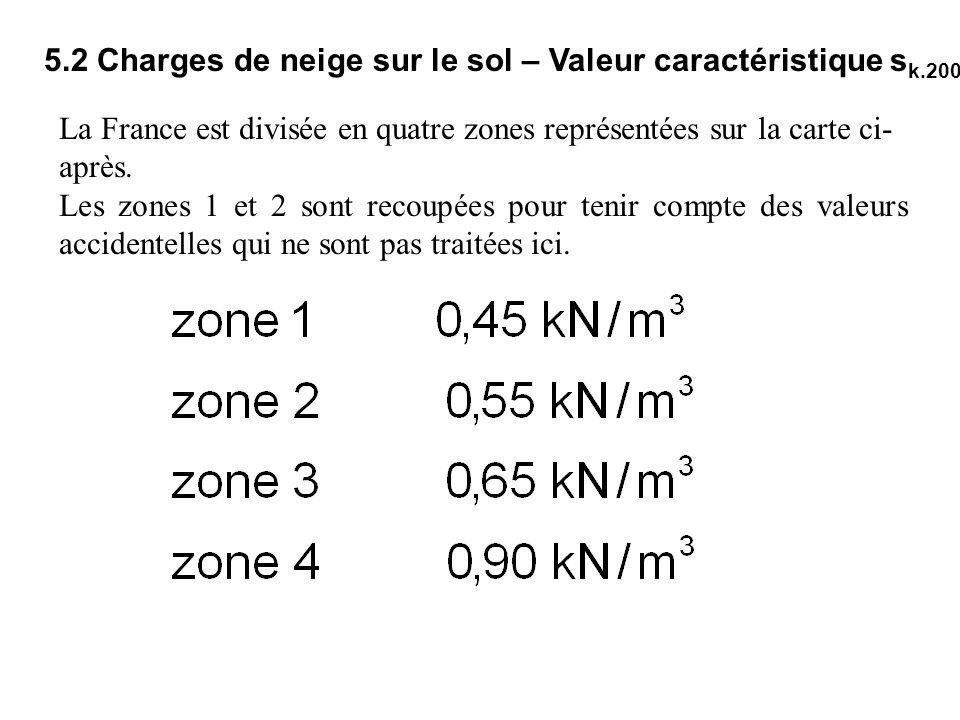 5.2 Charges de neige sur le sol – Valeur caractéristique sk.200