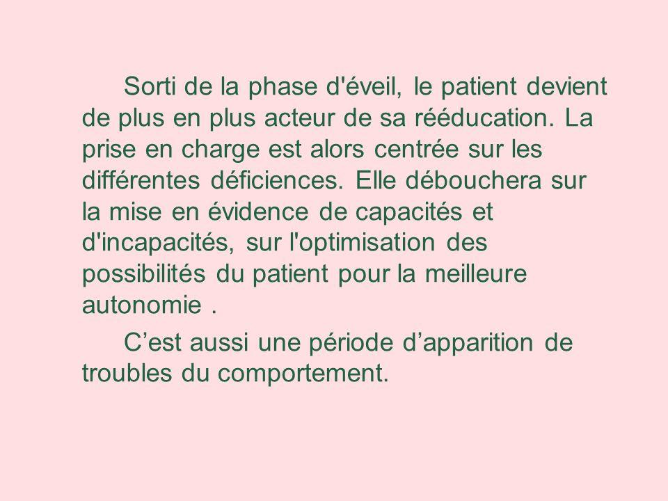 Sorti de la phase d éveil, le patient devient de plus en plus acteur de sa rééducation. La prise en charge est alors centrée sur les différentes déficiences. Elle débouchera sur la mise en évidence de capacités et d incapacités, sur l optimisation des possibilités du patient pour la meilleure autonomie .