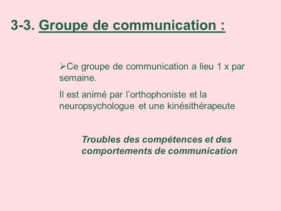 3-3. Groupe de communication :