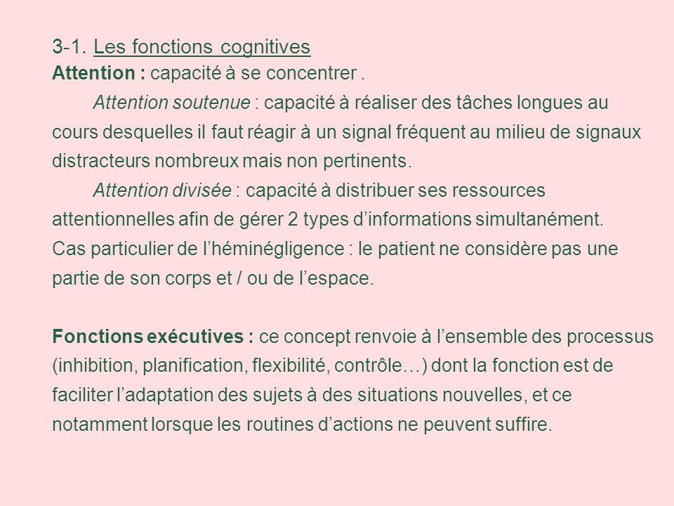 3-1. Les fonctions cognitives