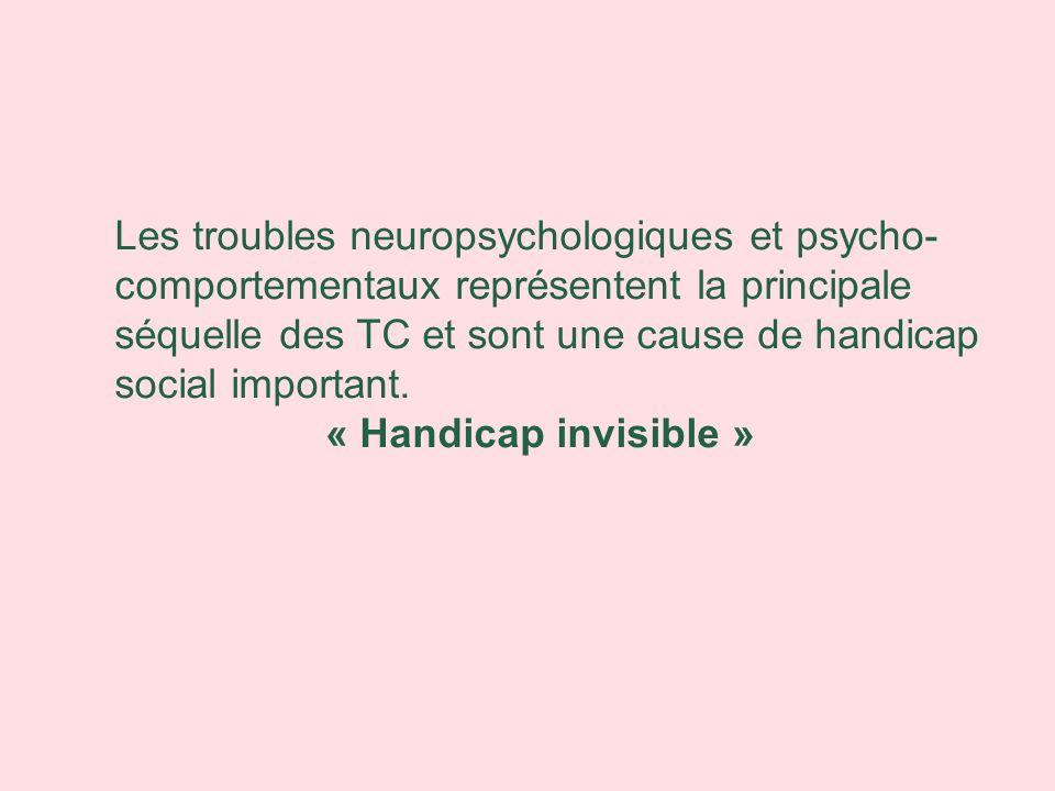 Les troubles neuropsychologiques et psycho-comportementaux représentent la principale séquelle des TC et sont une cause de handicap social important.