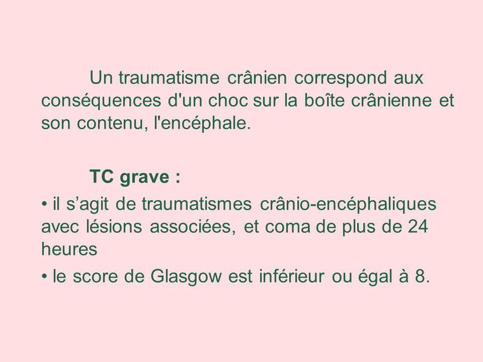 Un traumatisme crânien correspond aux conséquences d un choc sur la boîte crânienne et son contenu, l encéphale.