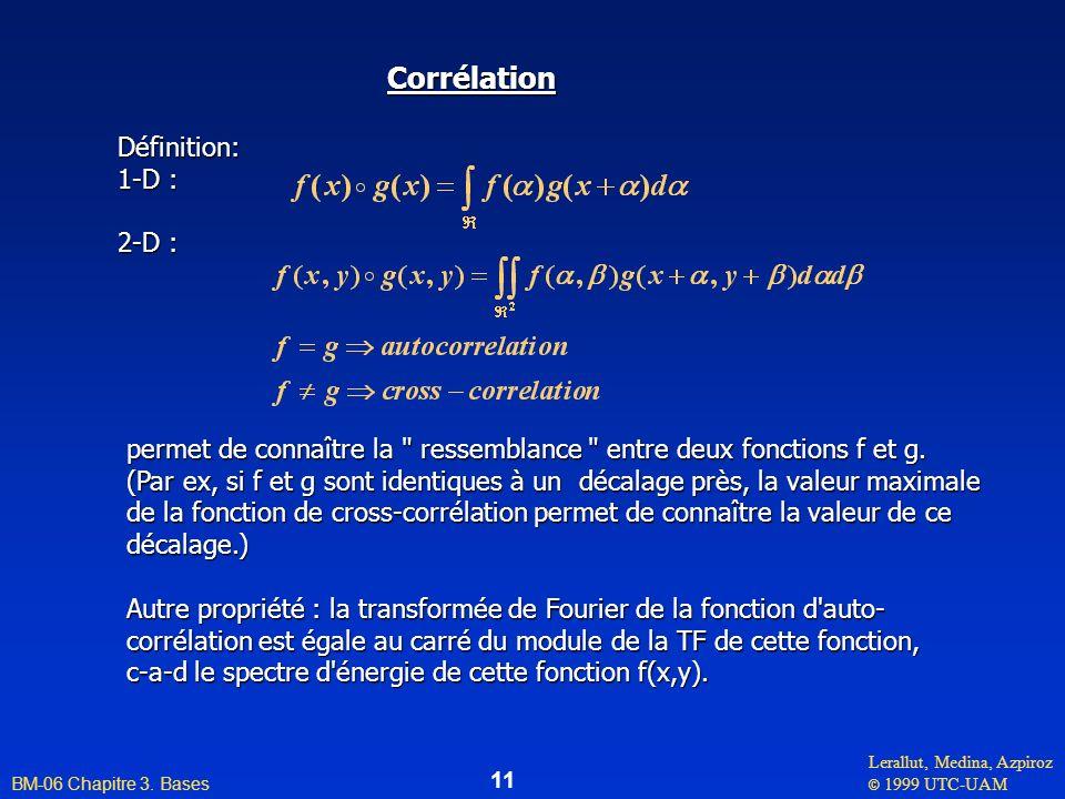Corrélation Définition: 1-D : 2-D :