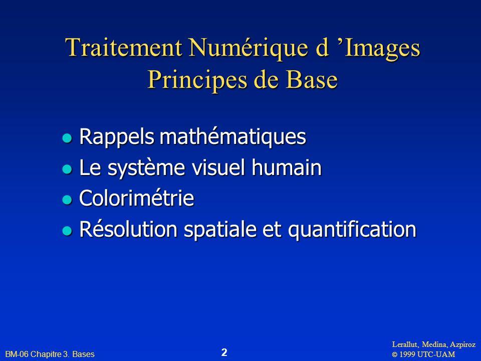 Traitement Numérique d 'Images Principes de Base