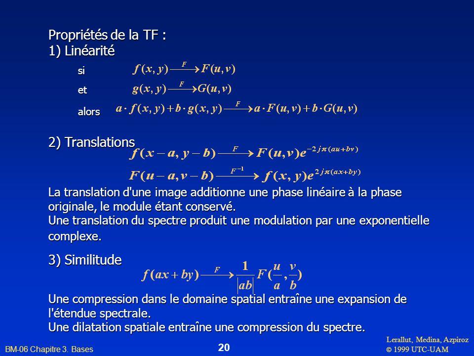 Propriétés de la TF : 1) Linéarité 2) Translations 3) Similitude si