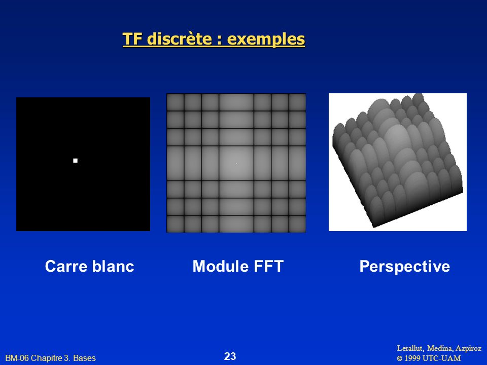 TF discrète : exemples Carre blanc Module FFT Perspective