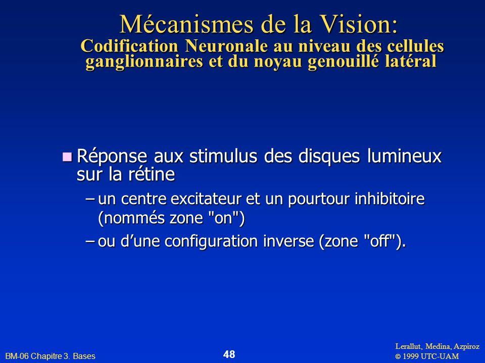 Mécanismes de la Vision: Codification Neuronale au niveau des cellules ganglionnaires et du noyau genouillé latéral