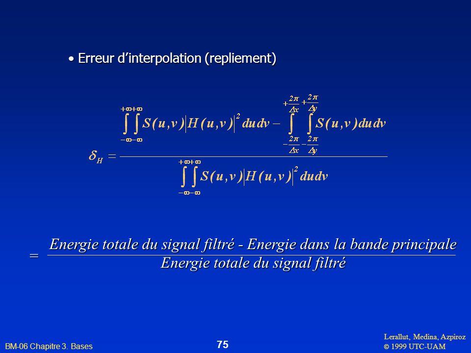 Energie totale du signal filtré - Energie dans la bande principale