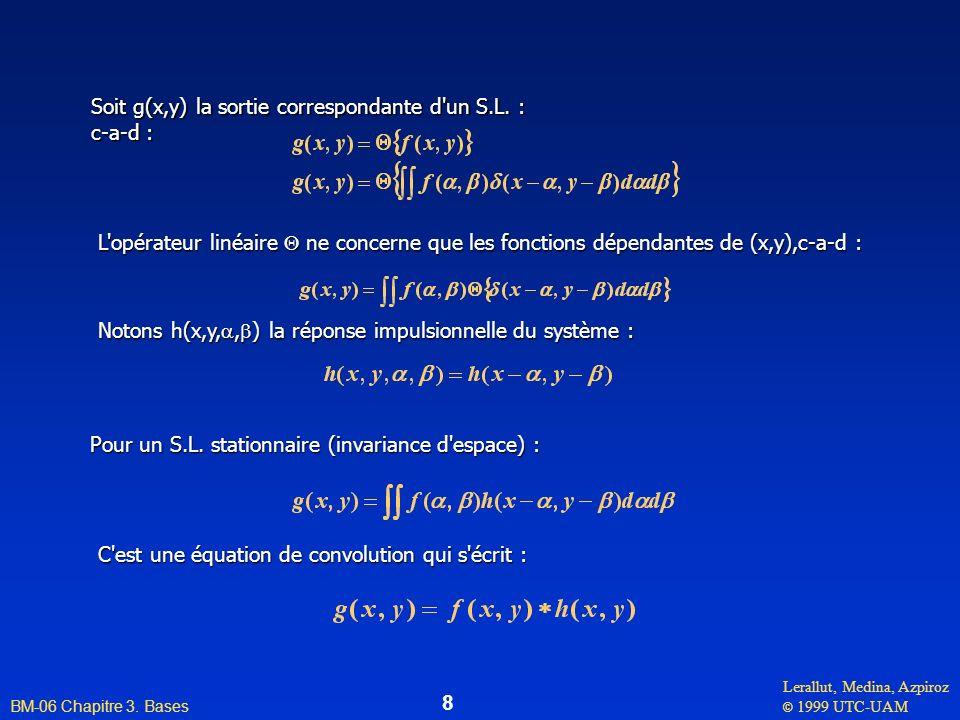 Soit g(x,y) la sortie correspondante d un S.L. :