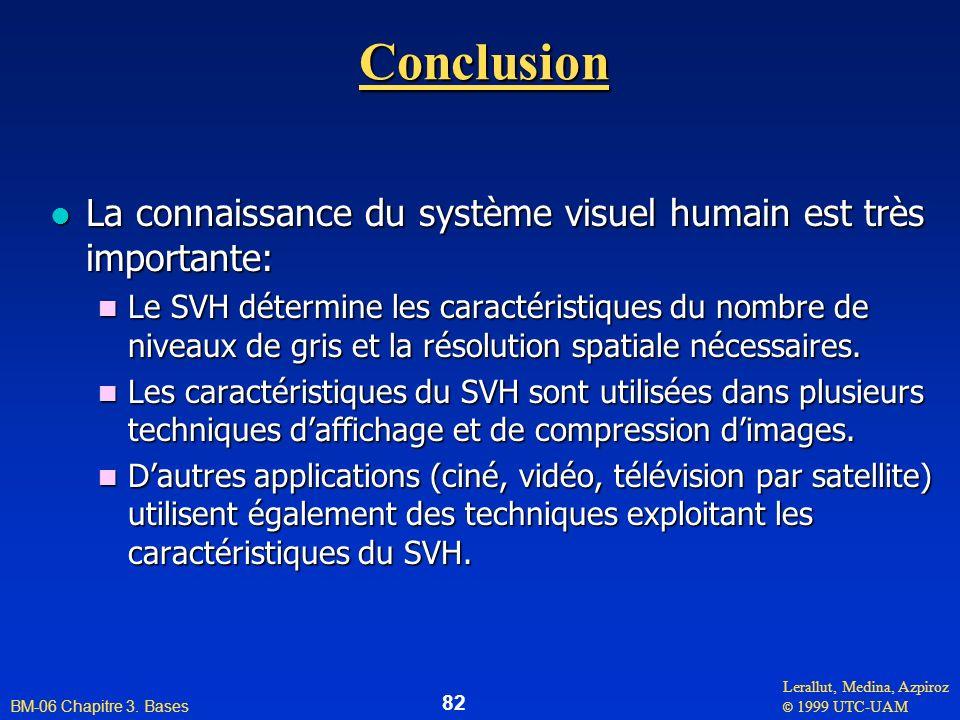 Conclusion La connaissance du système visuel humain est très importante:
