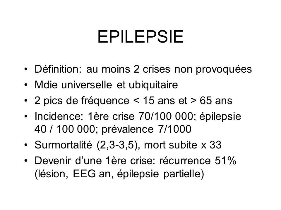 EPILEPSIE Définition: au moins 2 crises non provoquées