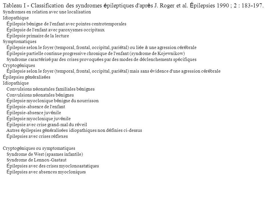 Tableau I - Classification des syndromes épileptiques d après J