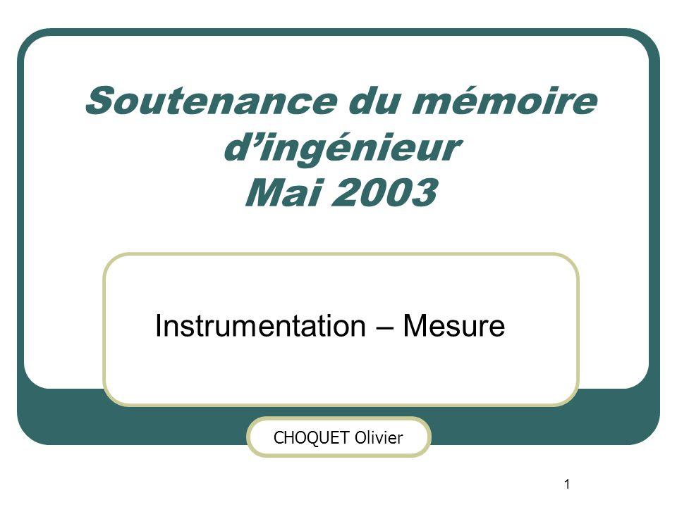 Soutenance du mémoire d'ingénieur Mai 2003