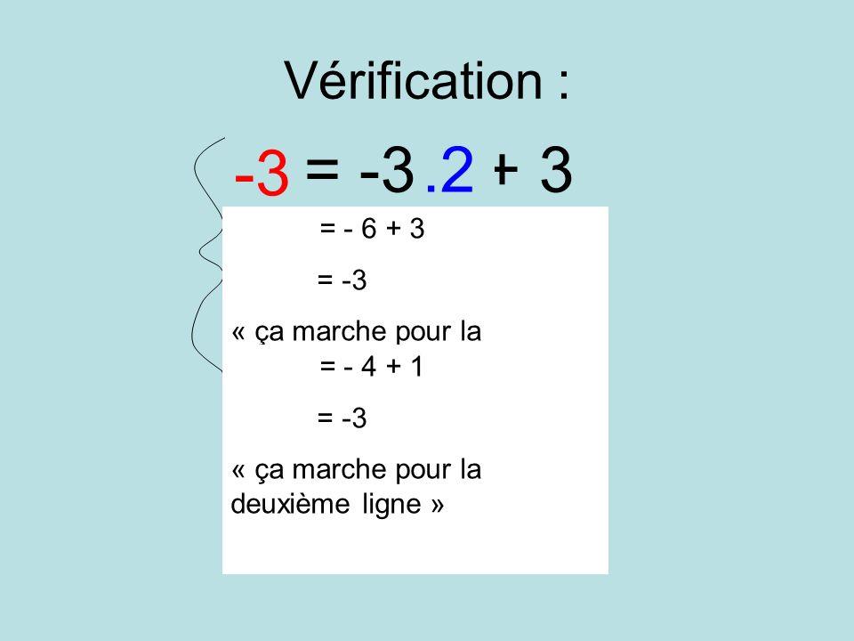 y = -3x + 3 y = -2x + 1 -3 .2 -3 .2 Vérification : = -3