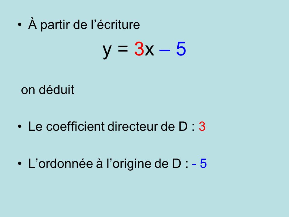y = 3x – 5 À partir de l'écriture on déduit
