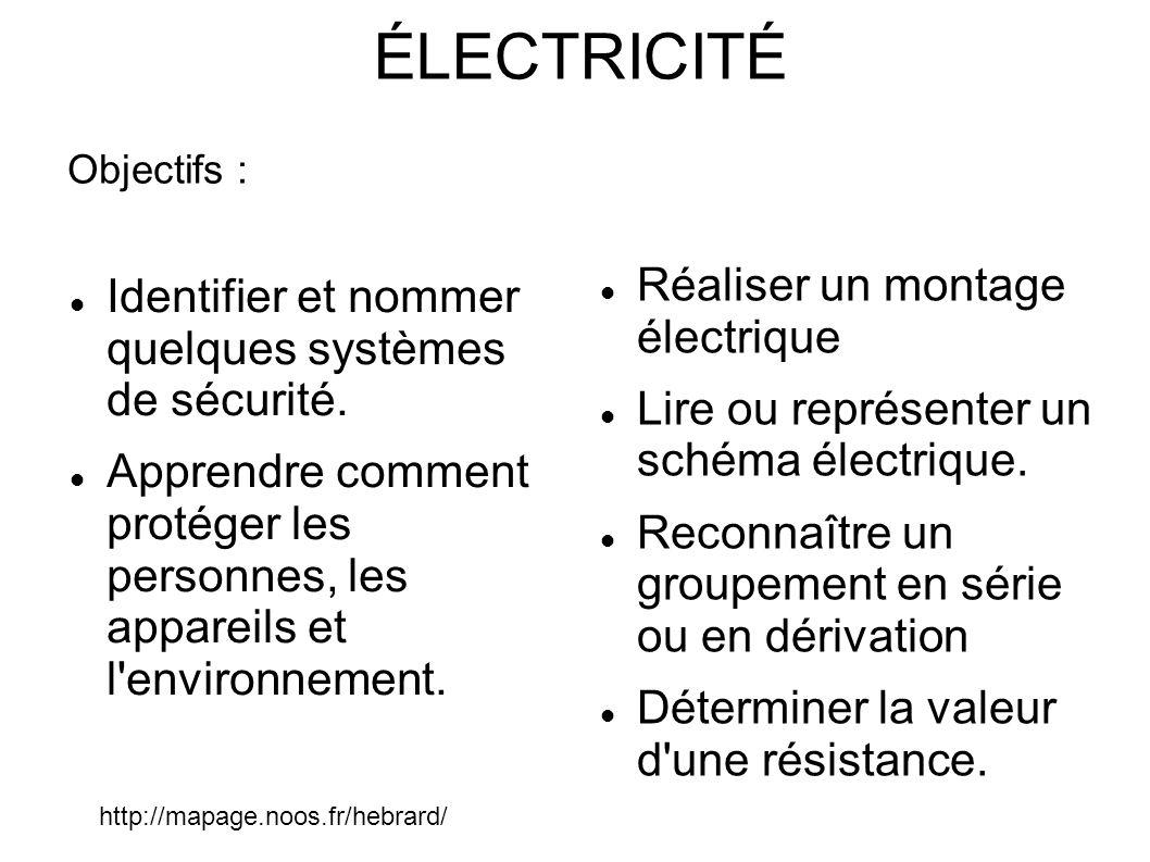 ÉLECTRICITÉ Réaliser un montage électrique