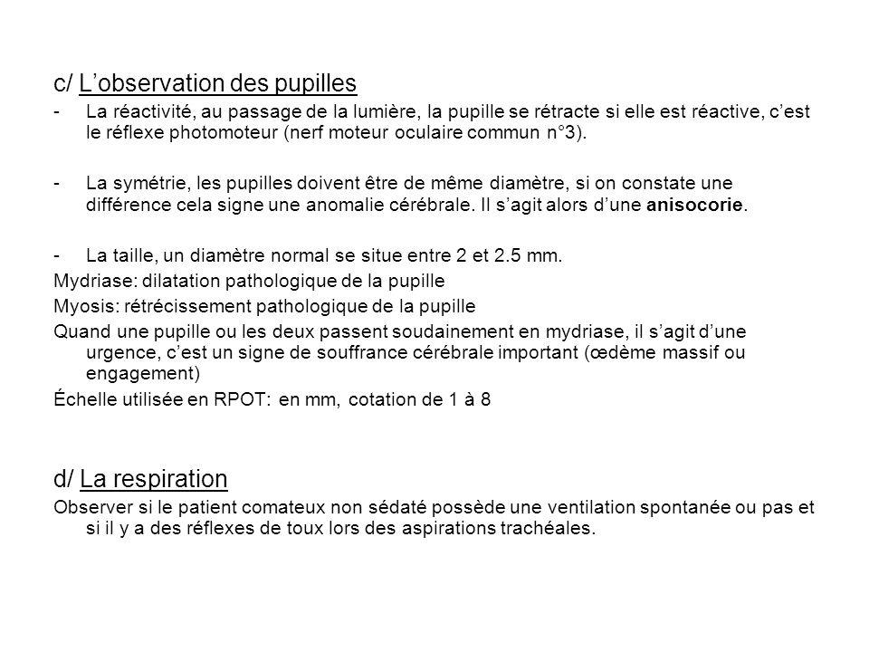 c/ L'observation des pupilles