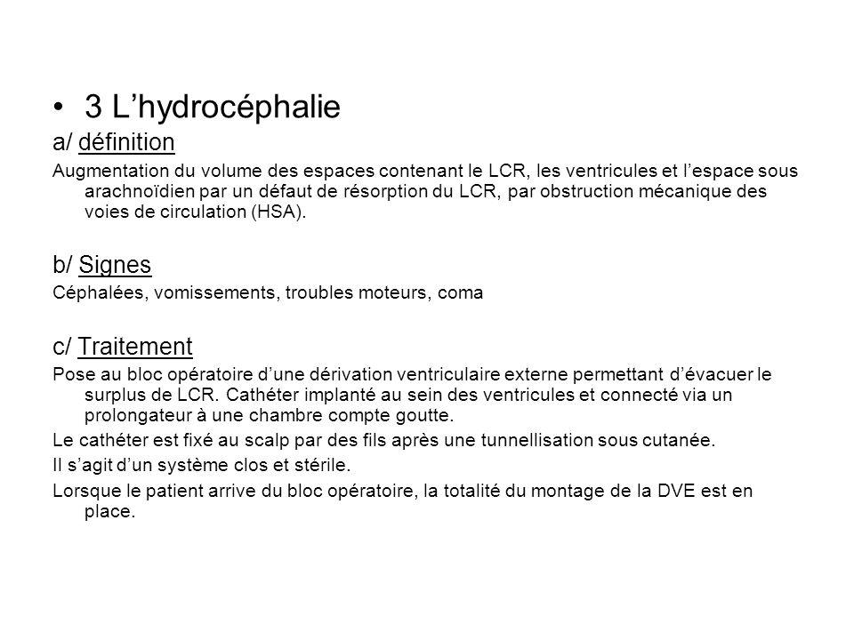 3 L'hydrocéphalie a/ définition b/ Signes c/ Traitement
