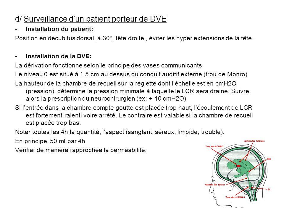 d/ Surveillance d'un patient porteur de DVE