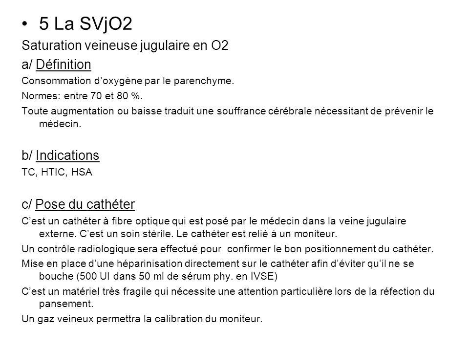 5 La SVjO2 Saturation veineuse jugulaire en O2 a/ Définition