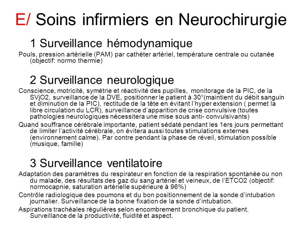 E/ Soins infirmiers en Neurochirurgie