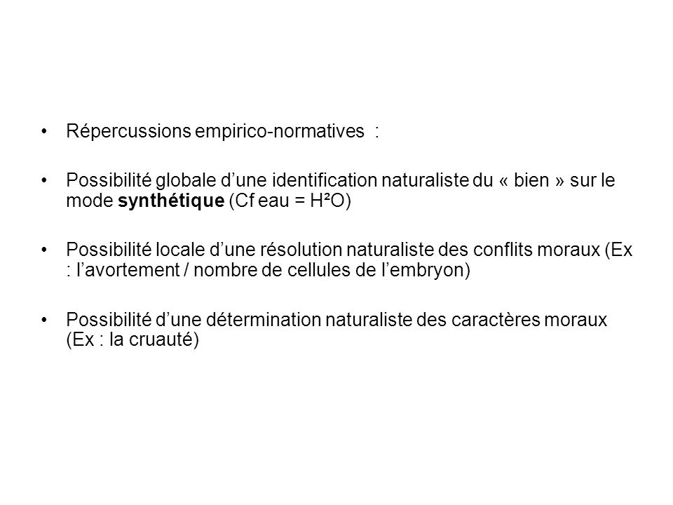Répercussions empirico-normatives :