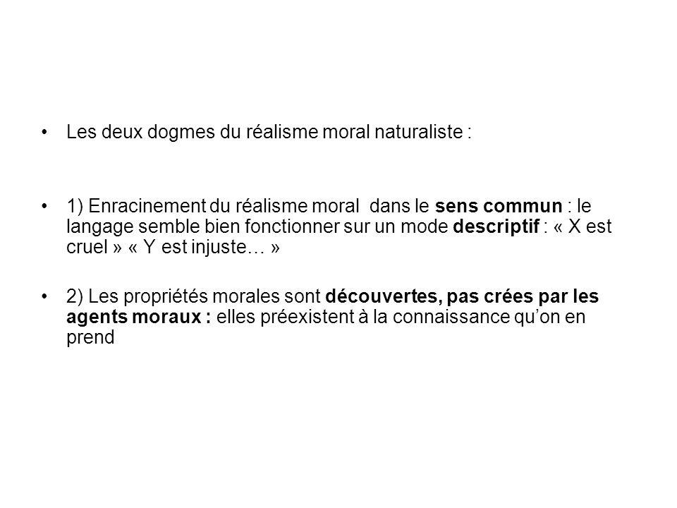 Les deux dogmes du réalisme moral naturaliste :