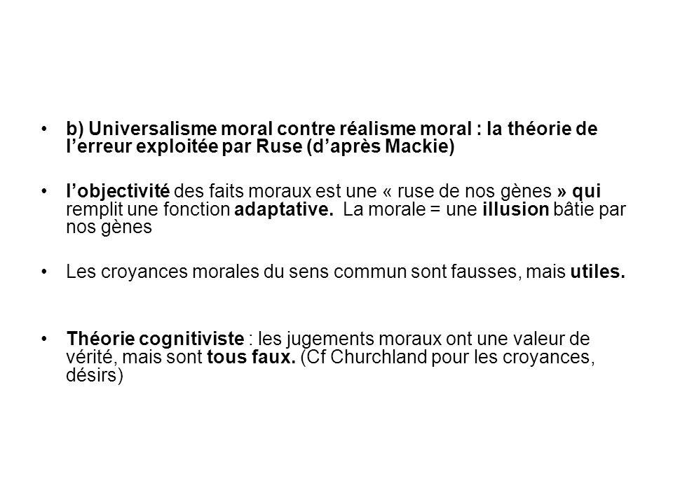 b) Universalisme moral contre réalisme moral : la théorie de l'erreur exploitée par Ruse (d'après Mackie)