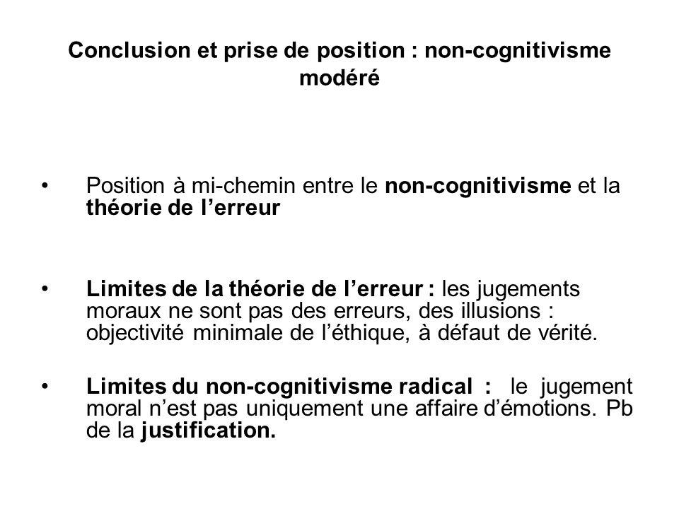 Conclusion et prise de position : non-cognitivisme modéré
