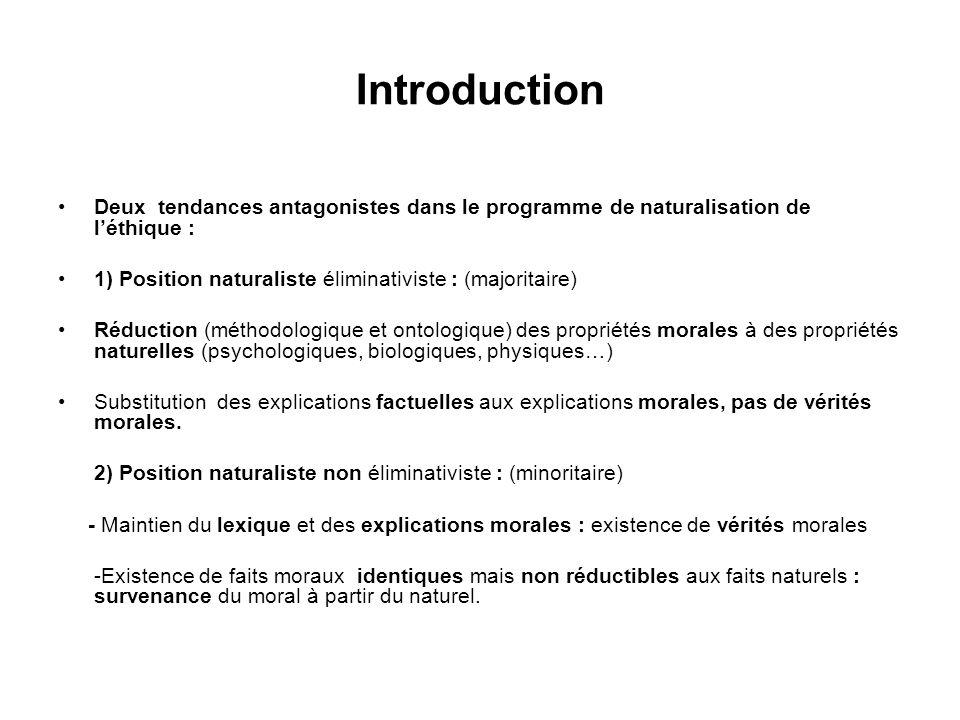 Introduction Deux tendances antagonistes dans le programme de naturalisation de l'éthique : 1) Position naturaliste éliminativiste : (majoritaire)