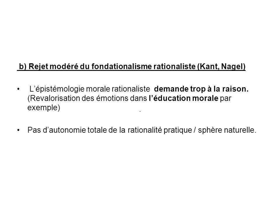 b) Rejet modéré du fondationalisme rationaliste (Kant, Nagel)