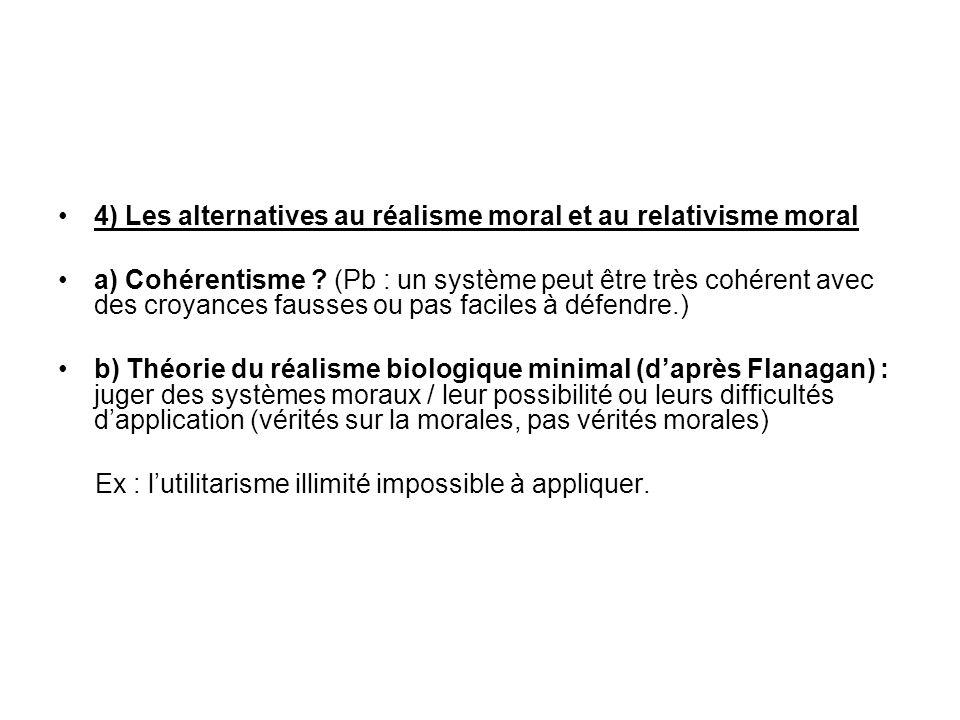 4) Les alternatives au réalisme moral et au relativisme moral