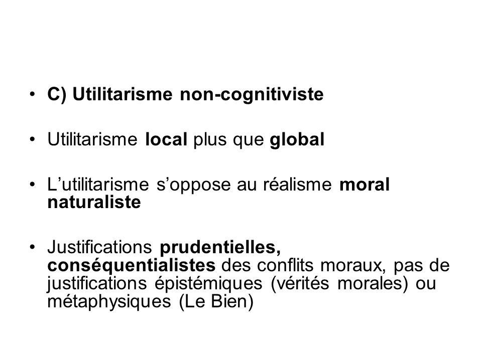 C) Utilitarisme non-cognitiviste