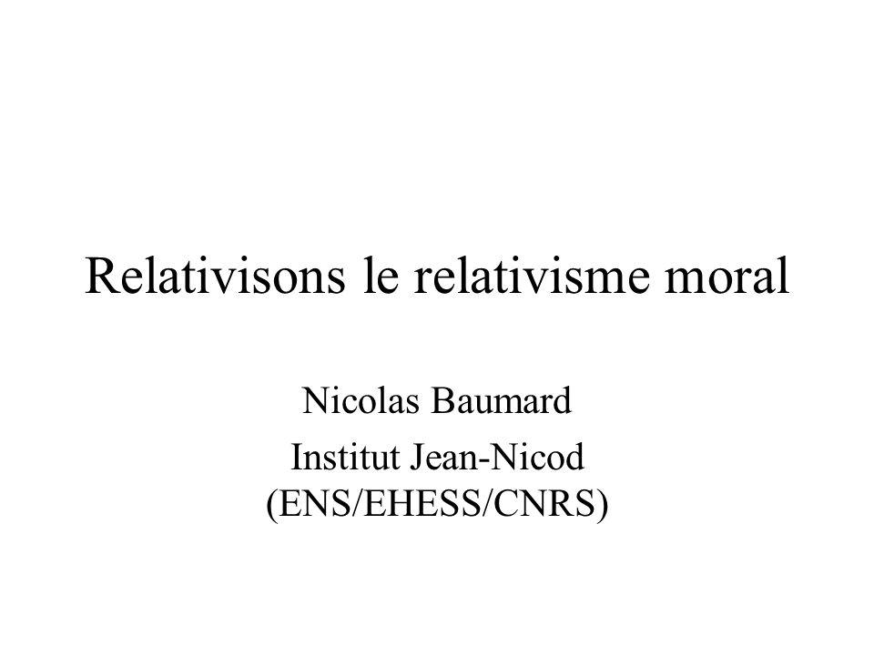 Relativisons le relativisme moral