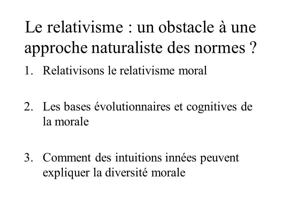 Le relativisme : un obstacle à une approche naturaliste des normes