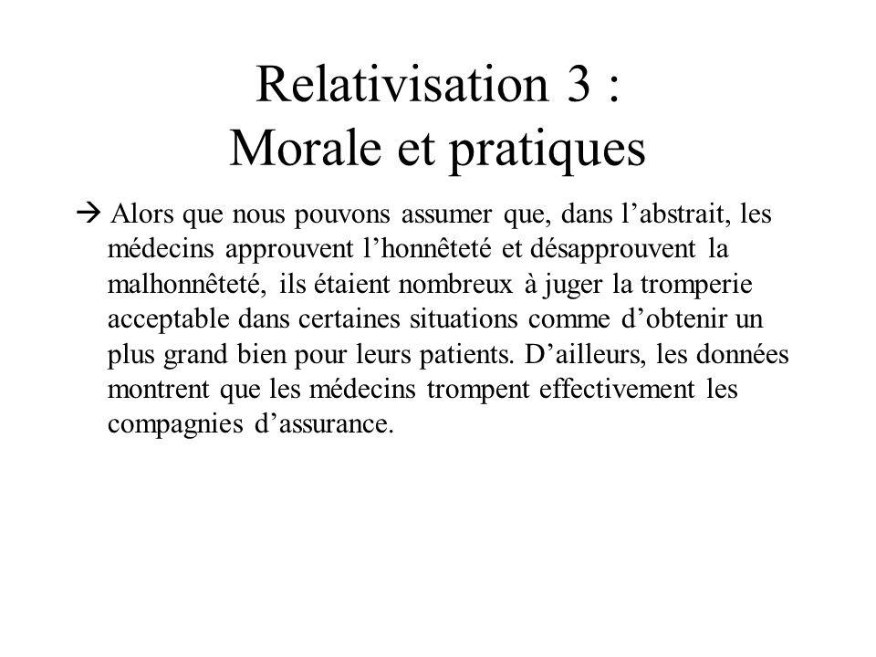 Relativisation 3 : Morale et pratiques